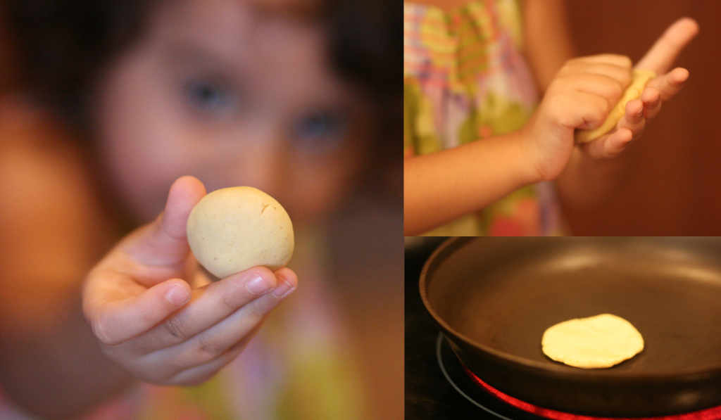My daughter making a mini jowar roti.