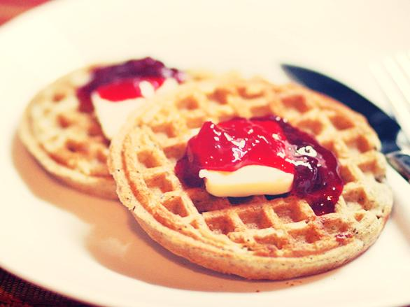 Waffles with Plum Jam