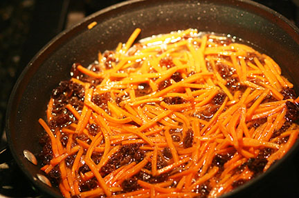 Sautéed, caramelized carrots & raisins.